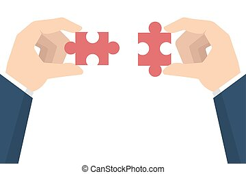 Businessman hands holding puzzle. Teamwork concept. Vector illustration in flat style