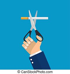 man Hands holding scissors cut a cigarettes