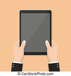 Businessman hands holding tablet with blank screen in a flat design