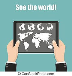 Businessman hands holding tablet with world map and globe