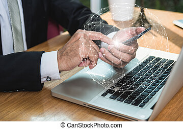 Businessman hands holding touch smart phone