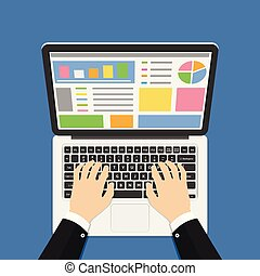 Businessman hands on laptop keyboard. Vector illustration.
