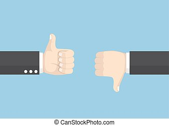 Businessman hands showing thumb up and thumb down