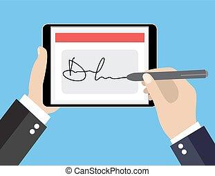 Businessman Hands signing Digital signature on tablet. Vector illustration in flat design for business concept.