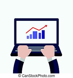 businessman hands use laptop with arrow up on graph,flat design vector illustration