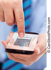 Businessman hands with futuristic smartphone