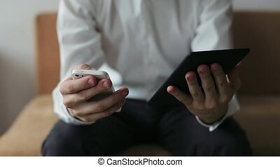 Businessman Hands Working on Tablet Computer