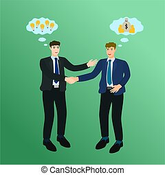 Businessman handshake exchange and idea and money