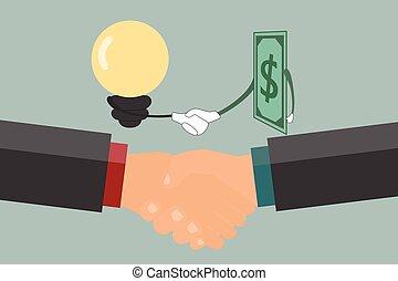 Businessman handshake , exchange money and idea.