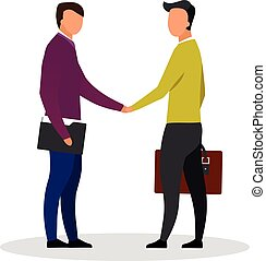 Businessman handshake flat vector illustration. Business partners, investors, entrepreneurs making deal isolated cartoon characters. Employee with employer. Successful partnership, employment concept
