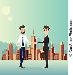 Businessman handshake with city background.