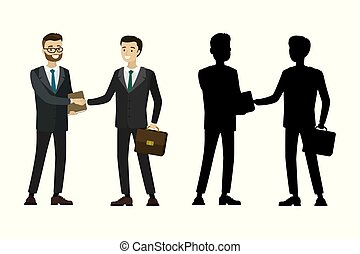 Businessman handshake with silhouette isolated on white background