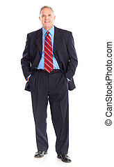 Handsome mature businessman. Isolated over white background
