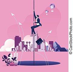 Businessman hanging on a chain escape above a large hole. Business risk concept
