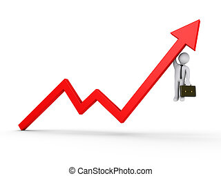 3d businessman is hanging from rising arrow graph