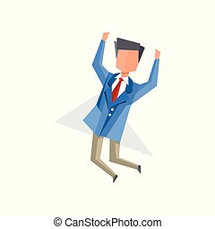 Businessman happily jumping cartoon vector Illustration on a white background