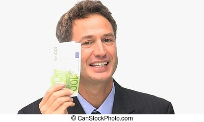 Businessman happy because he has a lot of money