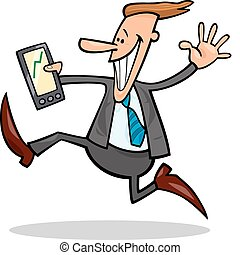 businessman happy for share rises - cartoon illustration of...