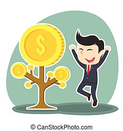 businessman happy his coin tree grow