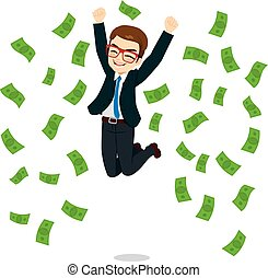 Businessman Happy Jumping Money - Young happy businessman...