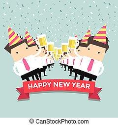 Businessman happy newyear party