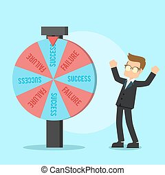 businessman happy over a success result of wheel of fortune