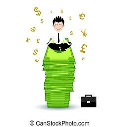 Businessman happy sitting in lotus posture on money