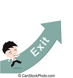businessman happy to running on green arrow with word Exit, road to success concept, presented in vector form
