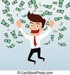 Businessman happy with money flowing in the air .