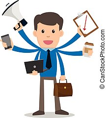 Businessman happy with multitasking and multi skill. cartoon...