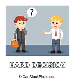 Businessman hard decision photo text style