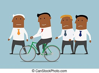 Competitive and skills advantages or business competition concept. Confident smiling cartoon dark skinned businessman riding on bicycle and leaving his competitors behind