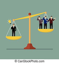 Businessman has an idea on scales. Value of idea