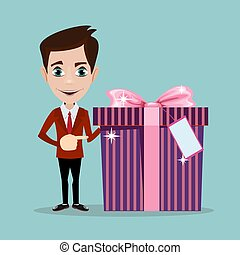 Businessman has an offer, giving a present, parcel