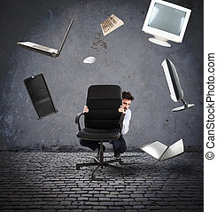 Businessman has fear of computers and technology