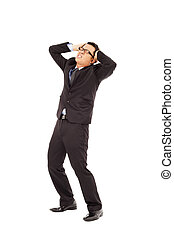 Businessman have a  headache and bend body