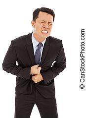 Businessman have stomach pain