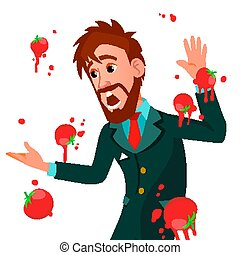 Businessman Having Tomatoes Fail Speech Vector. Unsuccessful Presentation. Bad Public Speech. European Man Having Tomatoes From Crowd. Isolated Illustration