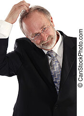 Businessman head scratch