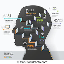Business concept infographic template. Silhouette businessman head thinking step. Can be used for workflow layout, banner, diagram, web design.