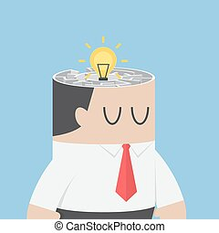 Businessman head with idea hiding inside the maze