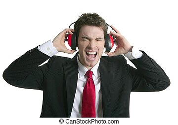 businessman headphones noise expression gesture