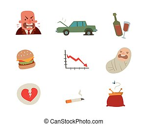 Businessman heart risk man heart attack stress infarct vector illustration smoking drinking alcohol harmful depression dizziness health problems
