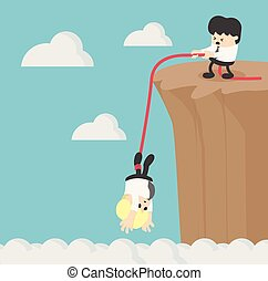 businessman help friend on the cliff
