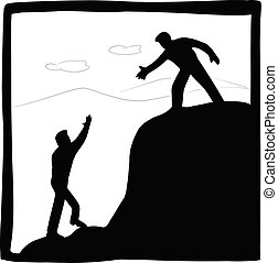 businessman helping each other hike up mountain vector illustration with black lines isolated on white background. Business teamwork concept.
