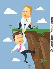 Businessman helping his friend. Vector flat illustration