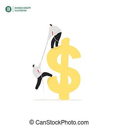 Businessman helping partner up to the dollar symbol meaning business helping and growth on white background illustration vector. Business concept.