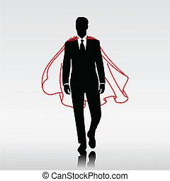 Businessman Hero - Businessman hero with red cloak