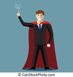Young super hero businessman in moment of insight. Inspiration, creativity, success concept. EPS 10 vector illustration, no transparency