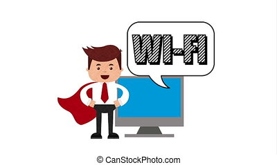 businessman hero with ecommerce technology animation , hd video animation